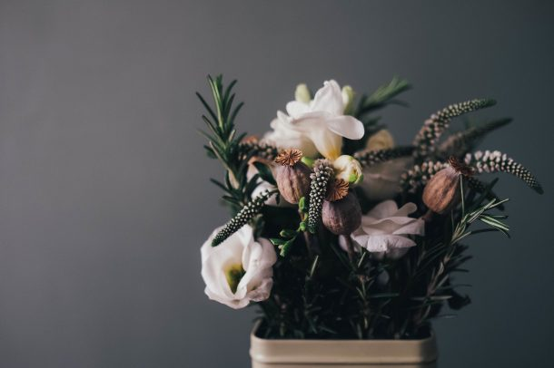 flowers on grey background